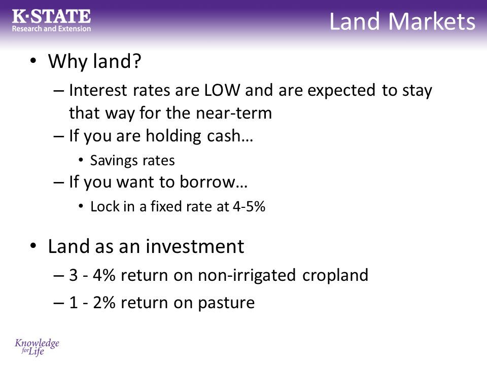 Land Markets Why land.