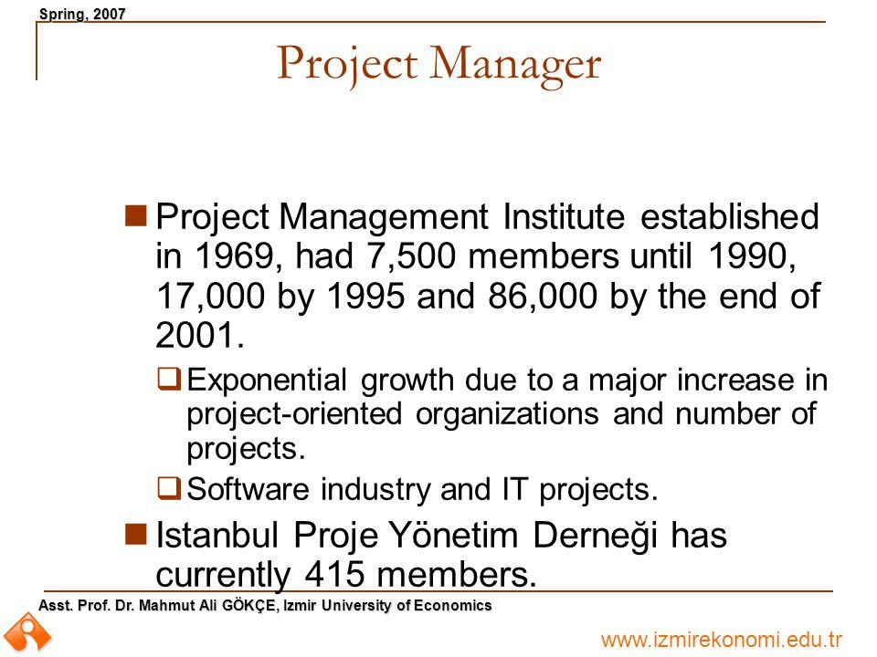 www.izmirekonomi.edu.tr Asst. Prof. Dr. Mahmut Ali GÖKÇE, Izmir University of Economics Spring, 2007 Project Manager Project Management Institute esta