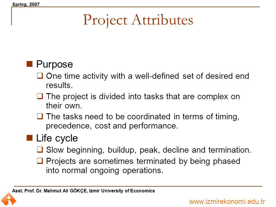 www.izmirekonomi.edu.tr Asst. Prof. Dr. Mahmut Ali GÖKÇE, Izmir University of Economics Spring, 2007 Project Attributes Purpose  One time activity wi