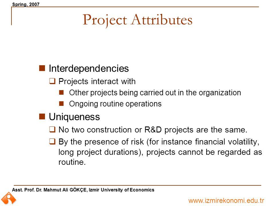 www.izmirekonomi.edu.tr Asst. Prof. Dr. Mahmut Ali GÖKÇE, Izmir University of Economics Spring, 2007 Project Attributes Interdependencies  Projects i
