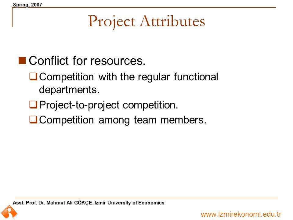 www.izmirekonomi.edu.tr Asst. Prof. Dr. Mahmut Ali GÖKÇE, Izmir University of Economics Spring, 2007 Project Attributes Conflict for resources.  Comp
