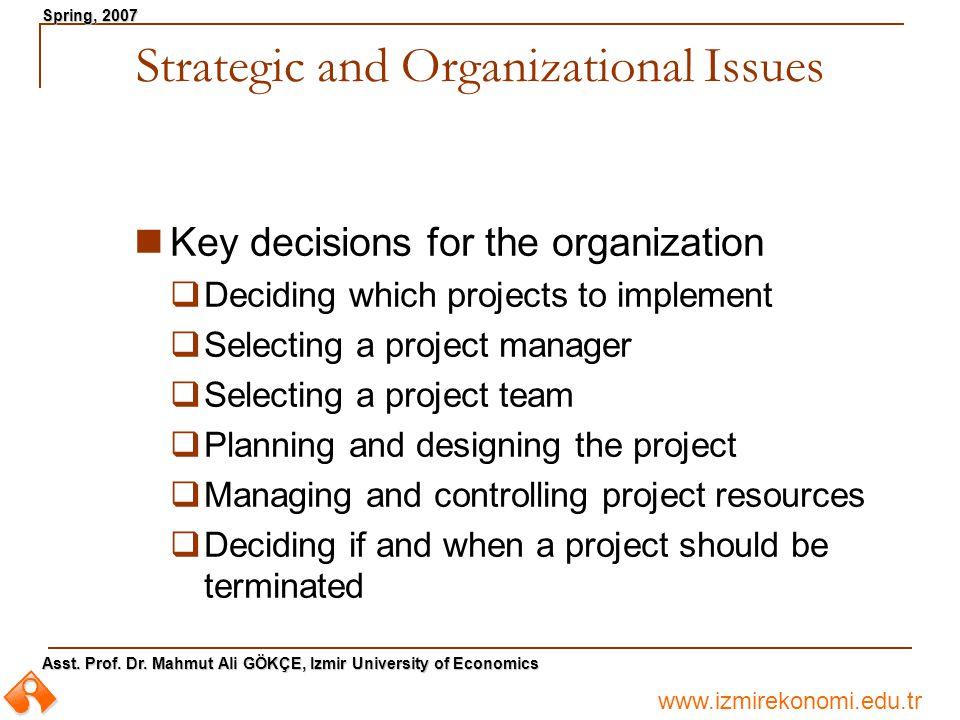 www.izmirekonomi.edu.tr Asst. Prof. Dr. Mahmut Ali GÖKÇE, Izmir University of Economics Spring, 2007 Strategic and Organizational Issues Key decisions