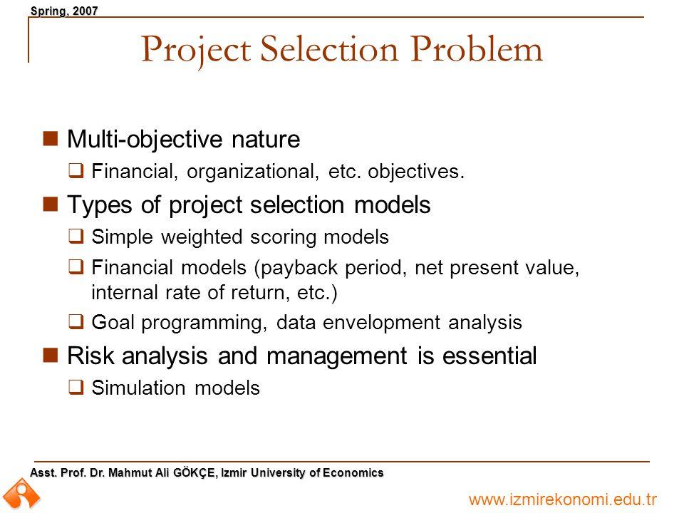 www.izmirekonomi.edu.tr Asst. Prof. Dr. Mahmut Ali GÖKÇE, Izmir University of Economics Spring, 2007 Project Selection Problem Multi-objective nature
