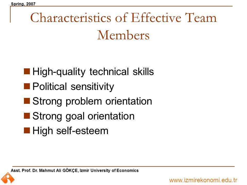 www.izmirekonomi.edu.tr Asst. Prof. Dr. Mahmut Ali GÖKÇE, Izmir University of Economics Spring, 2007 Characteristics of Effective Team Members High-qu