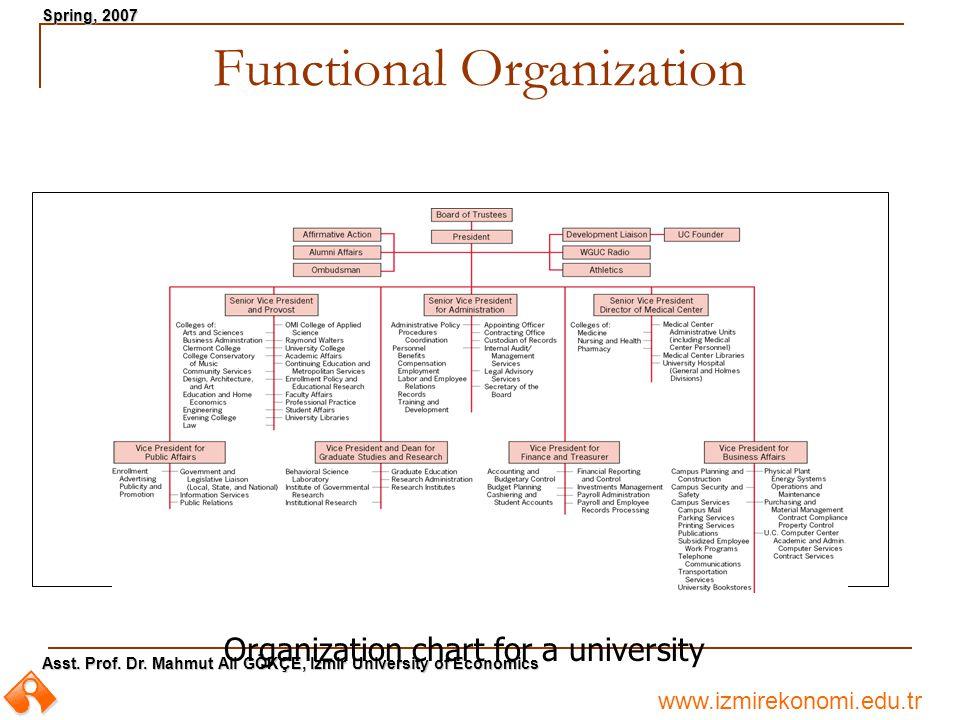 www.izmirekonomi.edu.tr Asst. Prof. Dr. Mahmut Ali GÖKÇE, Izmir University of Economics Spring, 2007 Functional Organization Organization chart for a