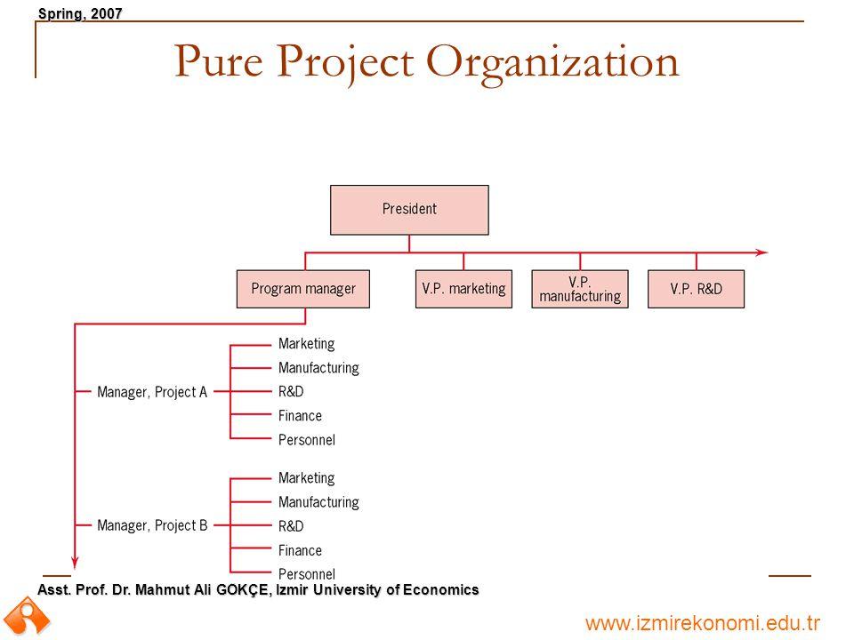 www.izmirekonomi.edu.tr Asst. Prof. Dr. Mahmut Ali GÖKÇE, Izmir University of Economics Spring, 2007 Pure Project Organization