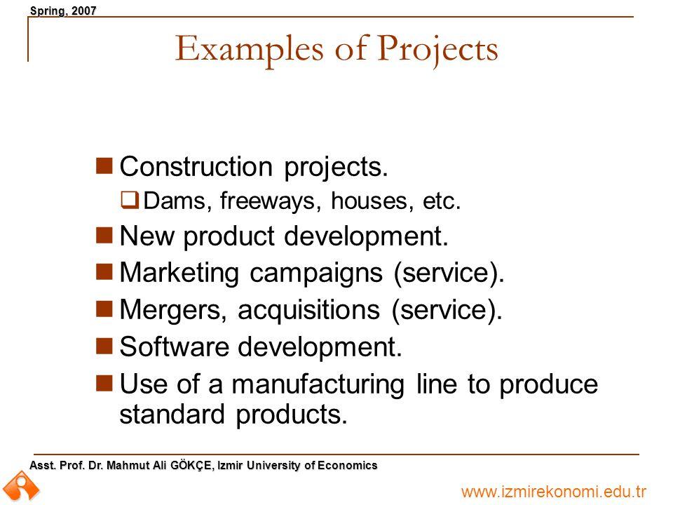 www.izmirekonomi.edu.tr Asst. Prof. Dr. Mahmut Ali GÖKÇE, Izmir University of Economics Spring, 2007 Examples of Projects Construction projects.  Dam