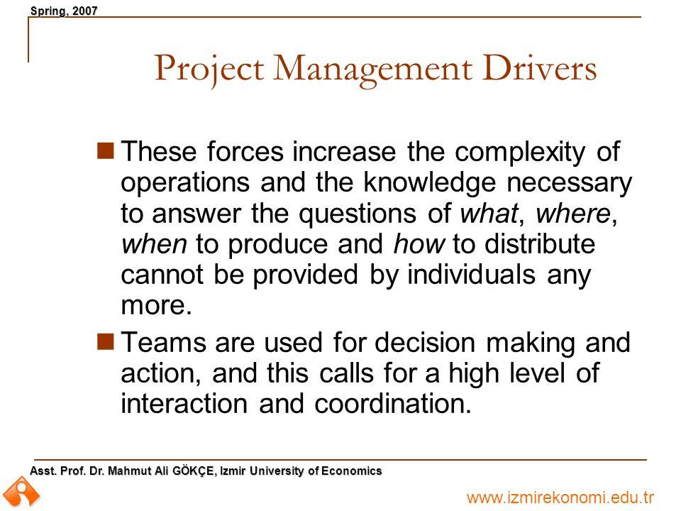 www.izmirekonomi.edu.tr Asst. Prof. Dr. Mahmut Ali GÖKÇE, Izmir University of Economics Spring, 2007 Project Management Drivers These forces increase