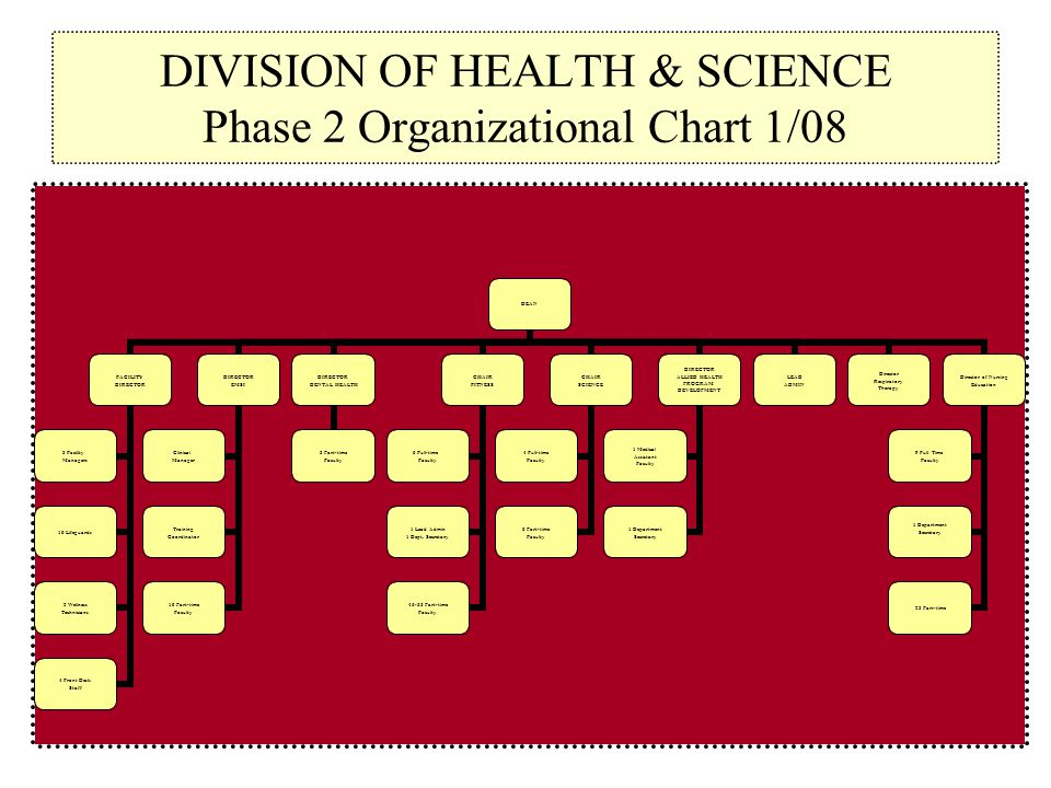 DIVISION OF HEALTH & SCIENCE Phase 2 Organizational Chart 1/08 DEAN FACILITY DIRECTOR 3 Facility Managers 10 Lifeguards 2 Wellness Technicians 4 Front