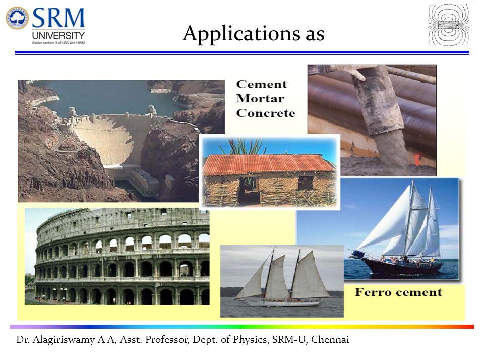 Dr. Alagiriswamy A A, Asst. Professor, Dept. of Physics, SRM-U, Chennai Applications as