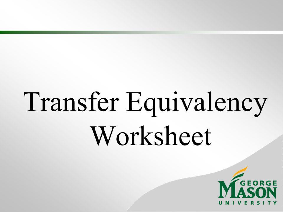 Transfer Equivalency Worksheet