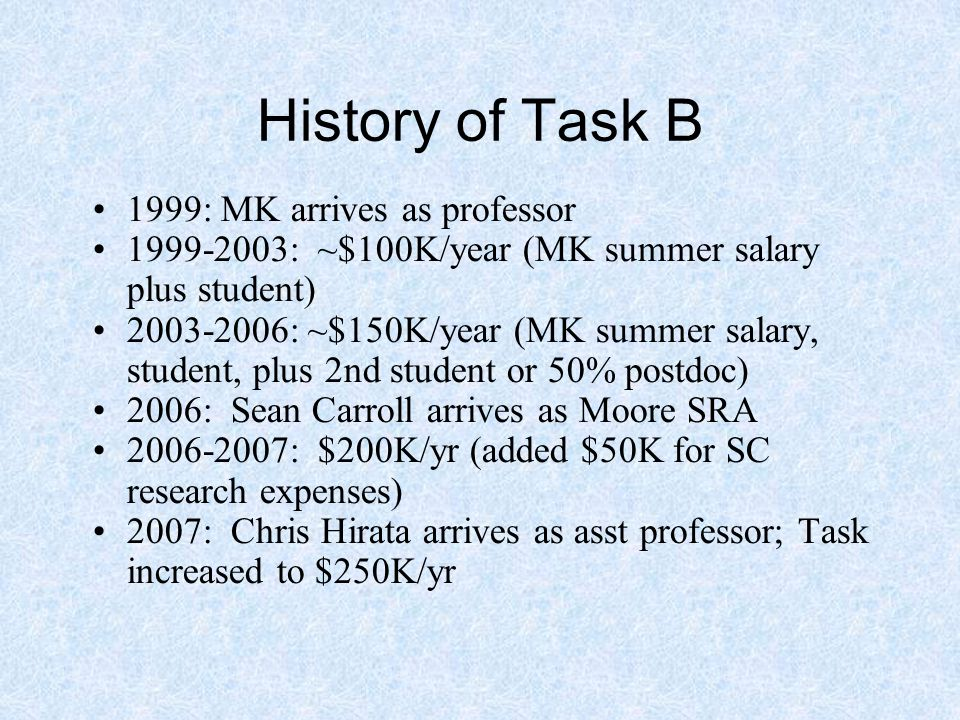 History of Task B 1999: MK arrives as professor 1999-2003: ~$100K/year (MK summer salary plus student) 2003-2006: ~$150K/year (MK summer salary, student, plus 2nd student or 50% postdoc) 2006: Sean Carroll arrives as Moore SRA 2006-2007: $200K/yr (added $50K for SC research expenses) 2007: Chris Hirata arrives as asst professor; Task increased to $250K/yr