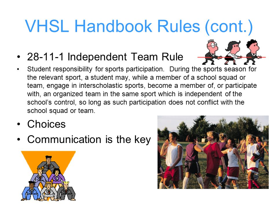 VHSL Handbook Rules (cont.) 28-11-1 Independent Team Rule Student responsibility for sports participation.