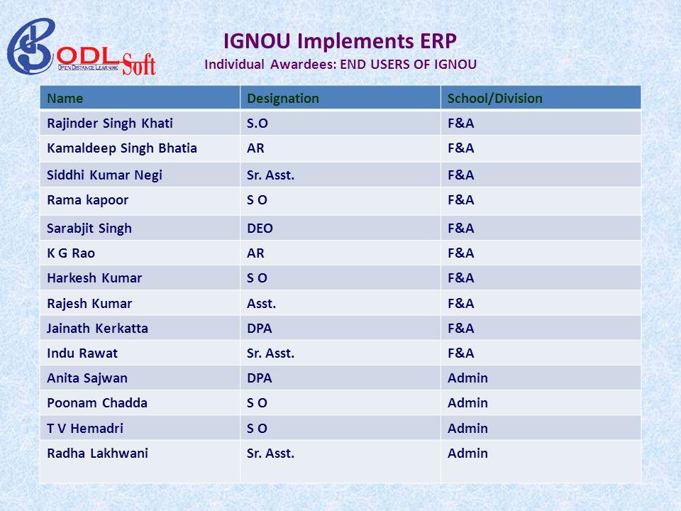IGNOU Implements ERP Individual Awardees: END USERS OF IGNOU NameDesignationSchool/Division Rajinder Singh KhatiS.OF&A Kamaldeep Singh BhatiaARF&A Siddhi Kumar NegiSr.