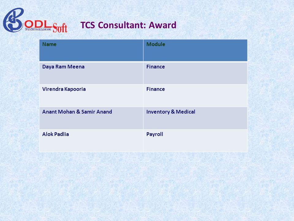 TCS Consultant: Award NameModule Daya Ram MeenaFinance Virendra KapooriaFinance Anant Mohan & Samir AnandInventory & Medical Alok PadliaPayroll