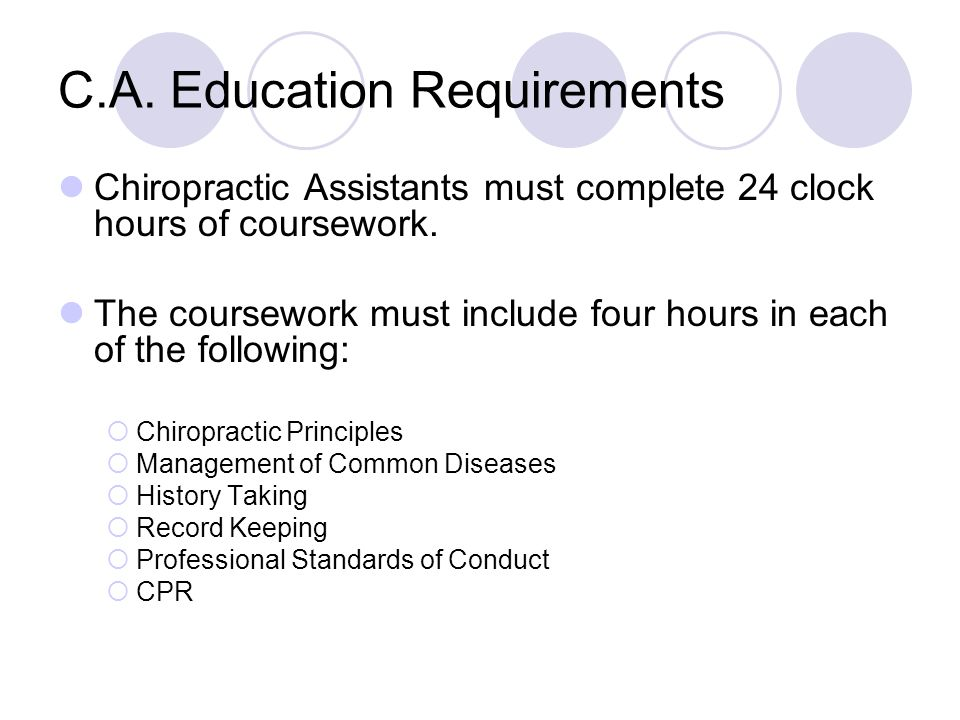 C.A. Education Requirements Chiropractic Assistants must complete 24 clock hours of coursework.