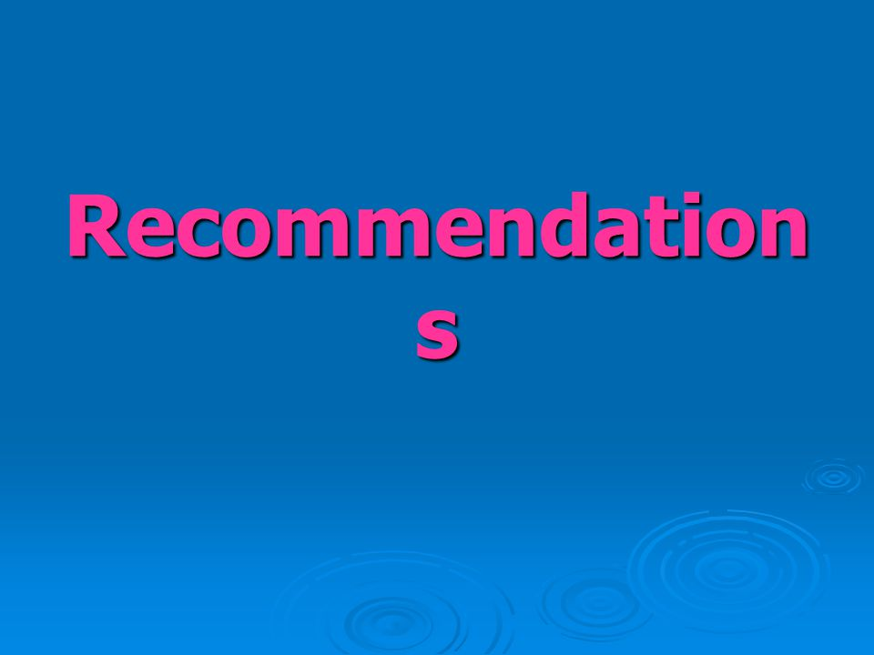 Recommendation s