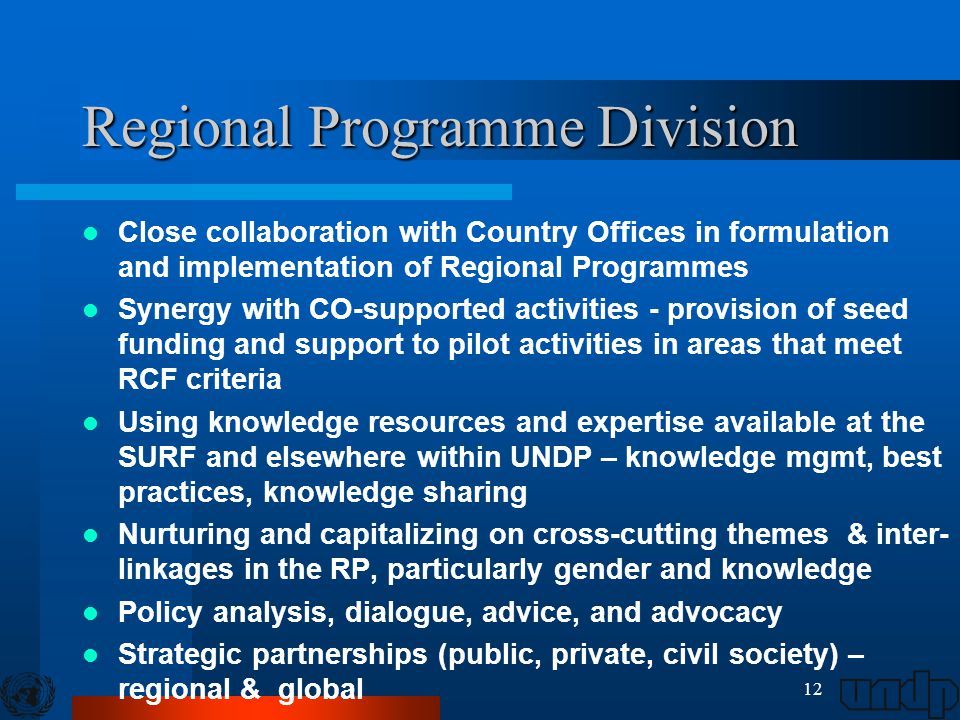 12 Regional Programme Division Close collaboration with Country Offices in formulation and implementation of Regional Programmes Synergy with CO-supported activities - provision of seed funding and support to pilot activities in areas that meet RCF criteria Using knowledge resources and expertise available at the SURF and elsewhere within UNDP – knowledge mgmt, best practices, knowledge sharing Nurturing and capitalizing on cross-cutting themes & inter- linkages in the RP, particularly gender and knowledge Policy analysis, dialogue, advice, and advocacy Strategic partnerships (public, private, civil society) – regional & global