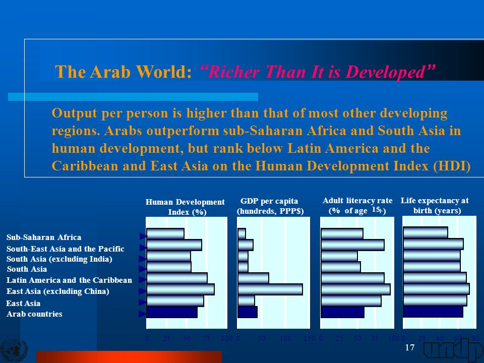 17 02550751000255075100 Human Development Index (%) GDP per capita (hundreds, PPP$) Adult literacy rate (% of age 15 +) Life expectancy at birth (year