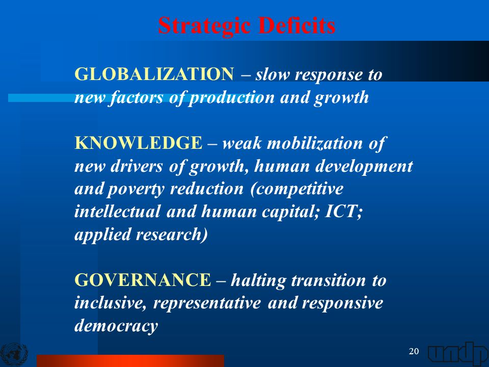 20 Strategic Deficits GLOBALIZATION – slow response to new factors of production and growth KNOWLEDGE – weak mobilization of new drivers of growth, hu