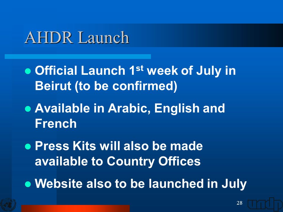 28 AHDR Launch Official Launch 1 st week of July in Beirut (to be confirmed) Available in Arabic, English and French Press Kits will also be made available to Country Offices Website also to be launched in July