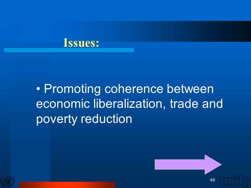 40 Issues: Promoting coherence between economic liberalization, trade and poverty reduction