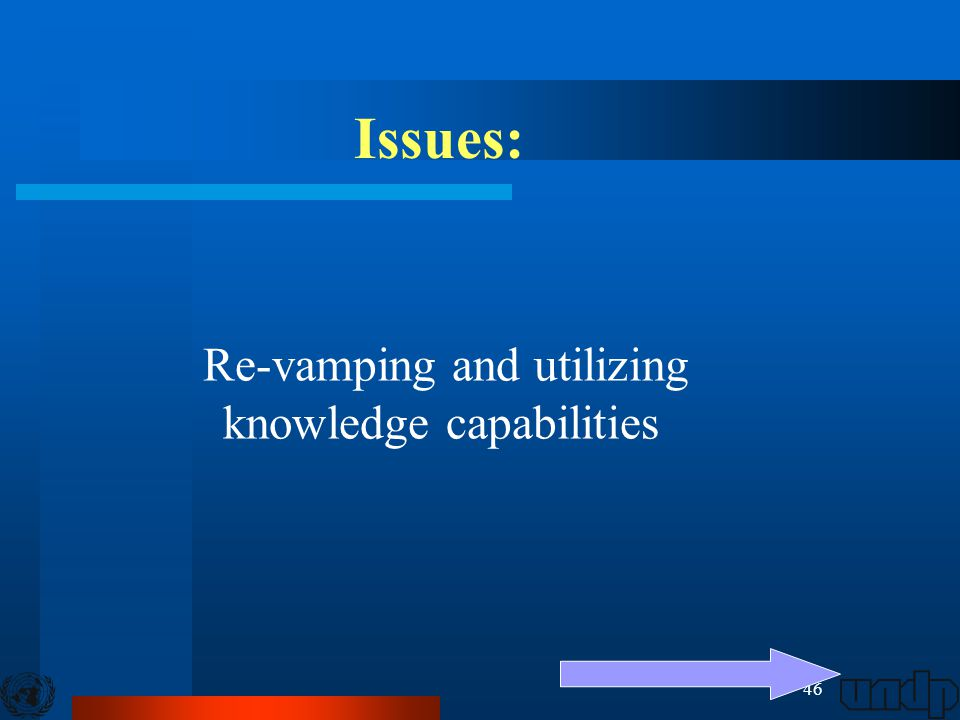 46 Issues: Re-vamping and utilizing knowledge capabilities