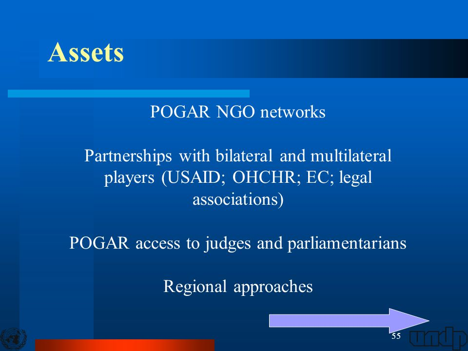 55 POGAR NGO networks Partnerships with bilateral and multilateral players (USAID; OHCHR; EC; legal associations) POGAR access to judges and parliamen