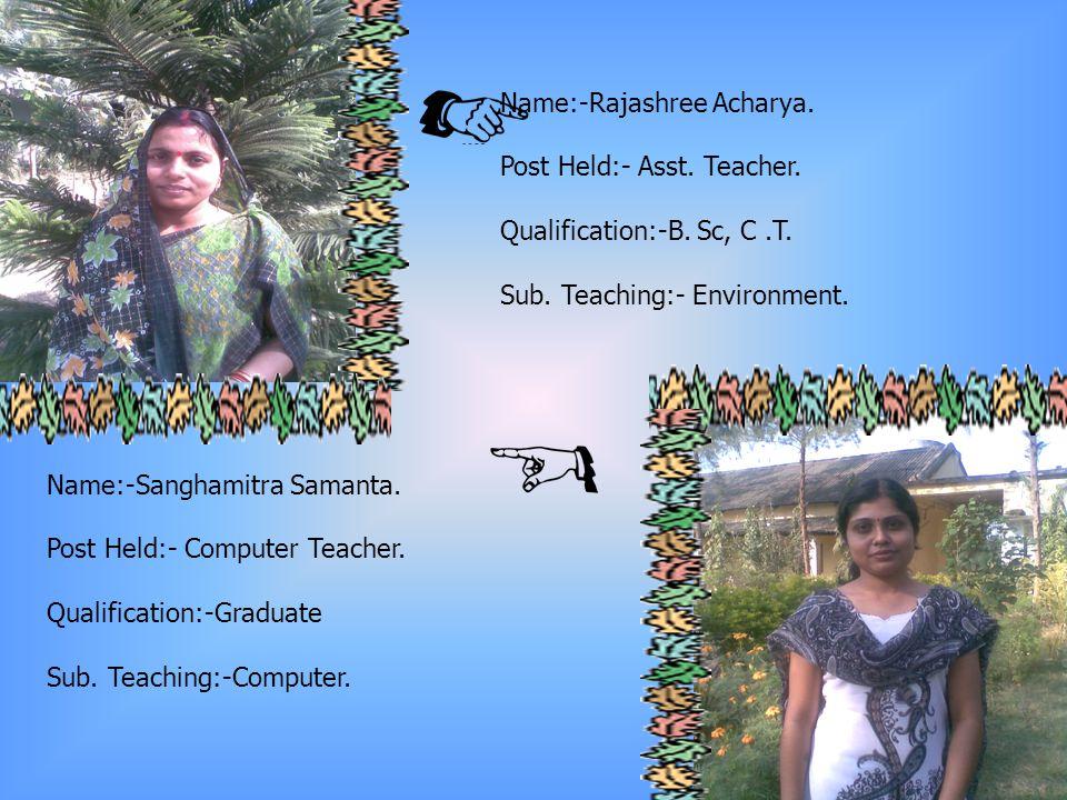 Name:- Sujata Nayak.Post Held:- Asst. Teacher. Qualification:- B.Sc.,B.Ed.