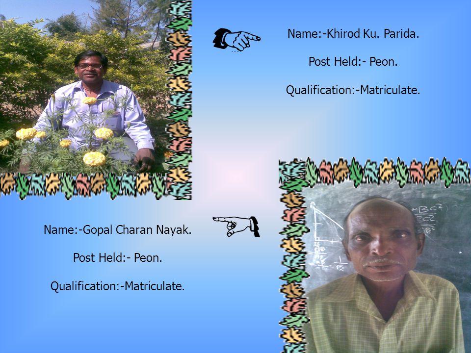 Name:-Pravat Ku.Parida. Post Held:- Clerk. Qualification:- I.