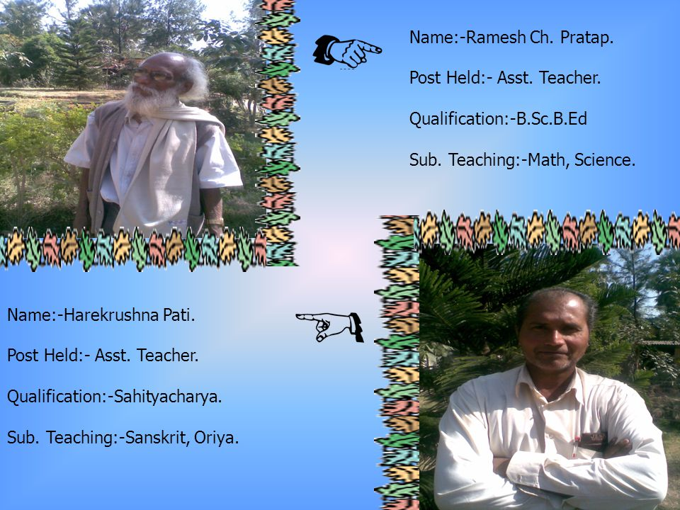 Name:- Daitari Patra Post Held:- Asst.Teacher. Qualification:-M.