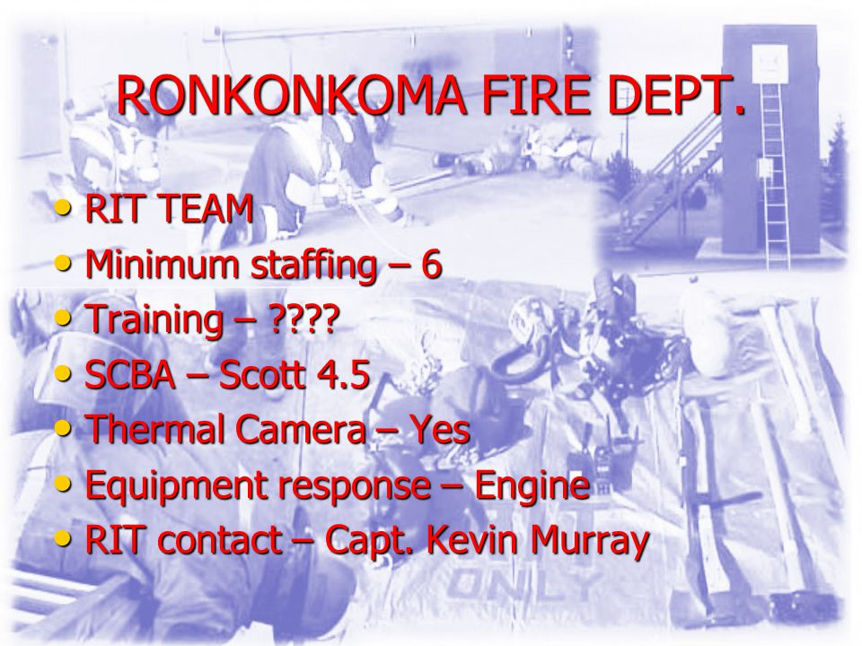 RONKONKOMA FIRE DEPT. RIT TEAM RIT TEAM Minimum staffing – 6 Minimum staffing – 6 Training – ???.