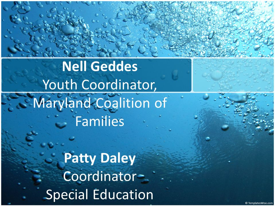 Nell Geddes Youth Coordinator, Maryland Coalition of Families Patty Daley Coordinator Special Education