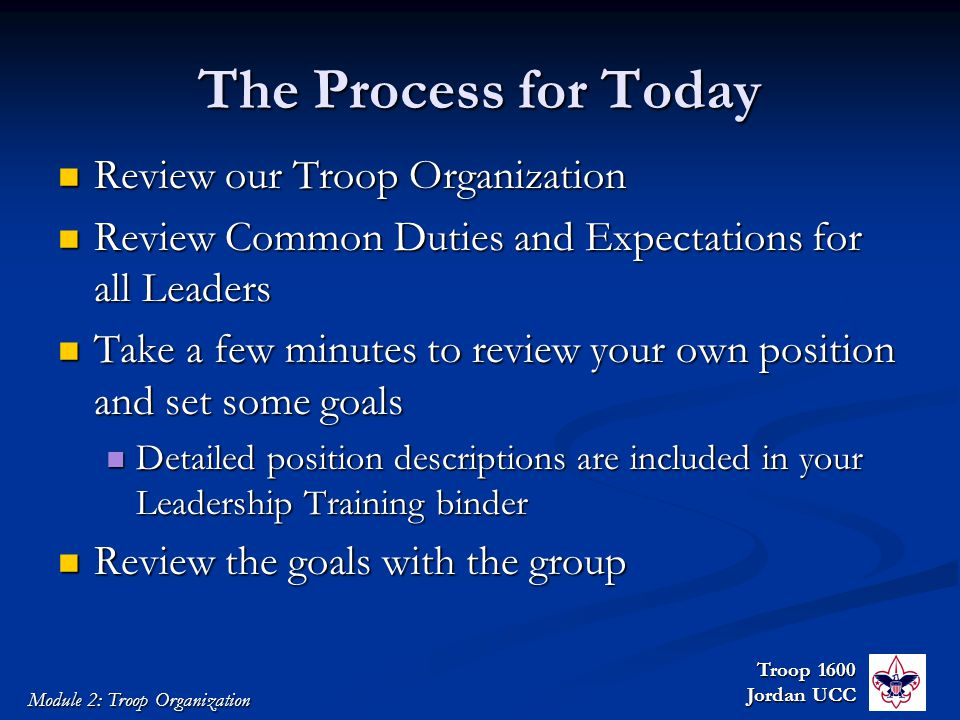 Troop 1600 Jordan UCC Module 2: Troop Organization The Process for Today Review our Troop Organization Review our Troop Organization Review Common Duties and Expectations for all Leaders Review Common Duties and Expectations for all Leaders Take a few minutes to review your own position and set some goals Take a few minutes to review your own position and set some goals Detailed position descriptions are included in your Leadership Training binder Detailed position descriptions are included in your Leadership Training binder Review the goals with the group Review the goals with the group