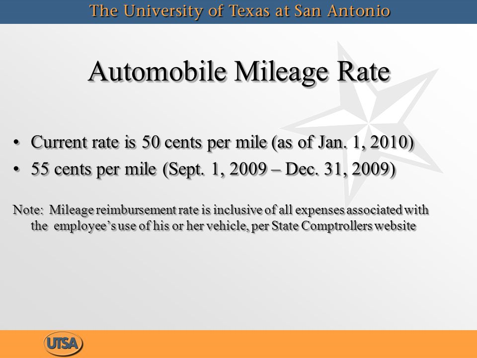 Automobile Mileage Rate Current rate is 50 cents per mile (as of Jan.