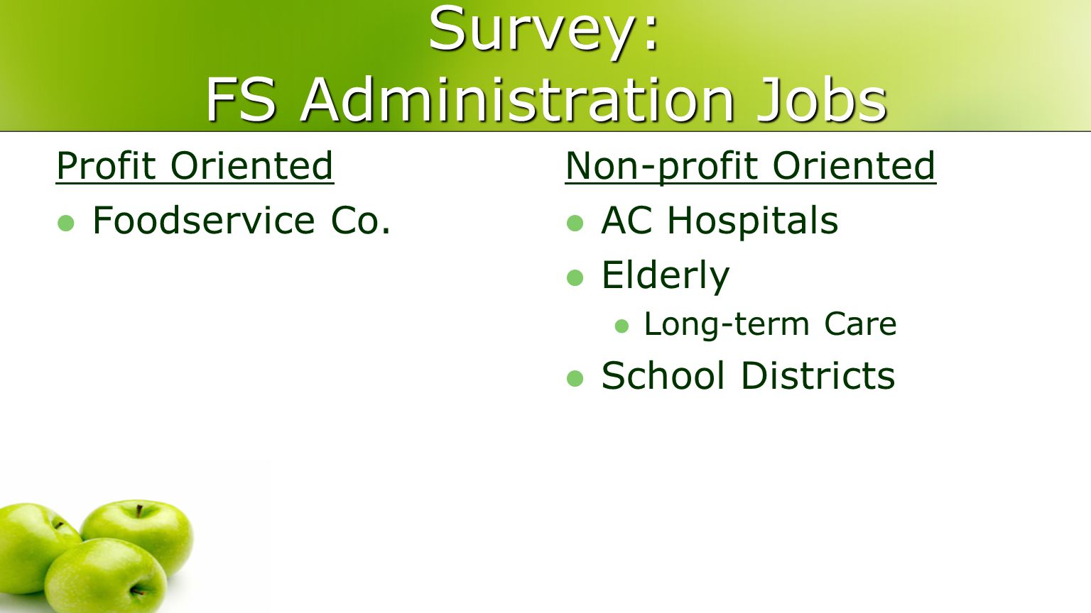 Survey: FS Administration Jobs Profit Oriented Foodservice Co.