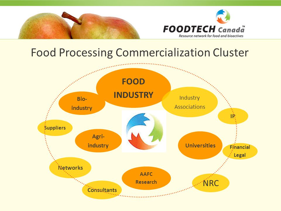 Food Processing Commercialization Cluster Suppliers Bio- industry FOOD INDUSTRY Agri- industry AAFC Research Universities Consultants Networks IP Financial Legal NRC Industry Associations