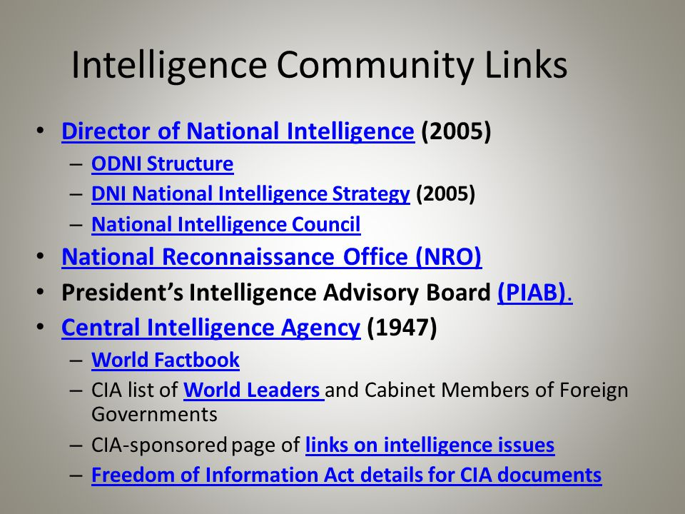 Intelligence Community Links Director of National Intelligence (2005) Director of National Intelligence – ODNI Structure ODNI Structure – DNI National Intelligence Strategy (2005) DNI National Intelligence Strategy – National Intelligence Council National Intelligence Council National Reconnaissance Office (NRO) President's Intelligence Advisory Board (PIAB).(PIAB).