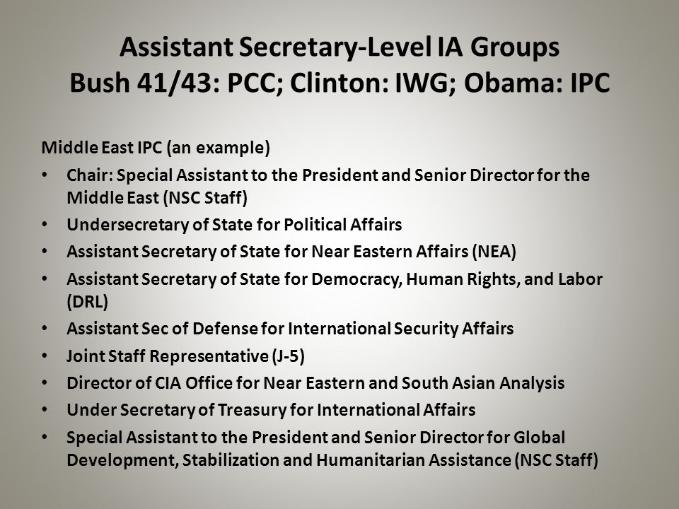 Assistant Secretary-Level IA Groups Bush 41/43: PCC; Clinton: IWG; Obama: IPC Middle East IPC (an example) Chair: Special Assistant to the President a