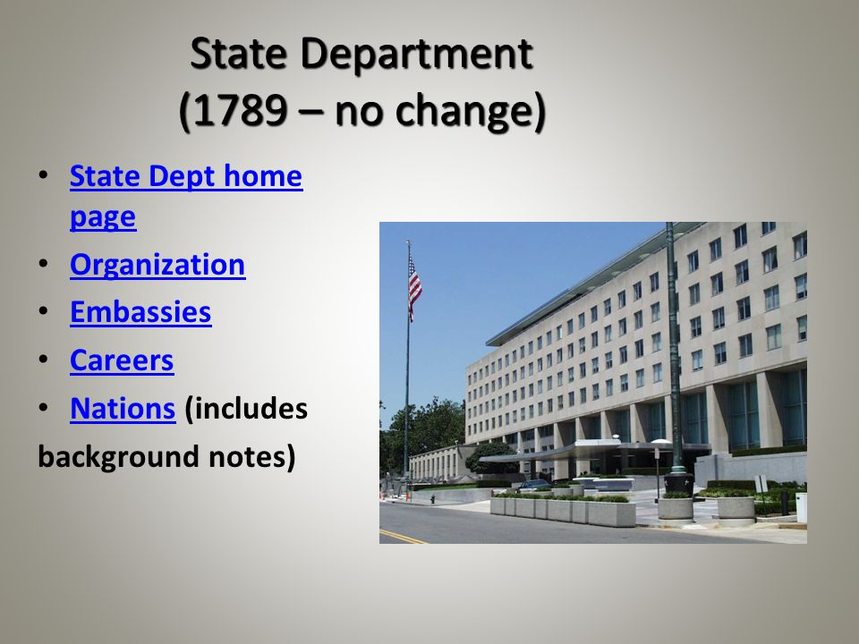 State Department (1789 – no change) State Dept home page State Dept home page Organization Embassies Careers Nations (includes Nations background notes)