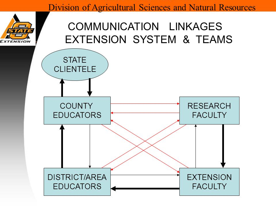 Division of Agricultural Sciences and Natural Resources COUNTY EDUCATORS DISTRICT/AREA EDUCATORS EXTENSION FACULTY RESEARCH FACULTY COMMUNICATION LINKAGES EXTENSION SYSTEM & TEAMS STATE CLIENTELE