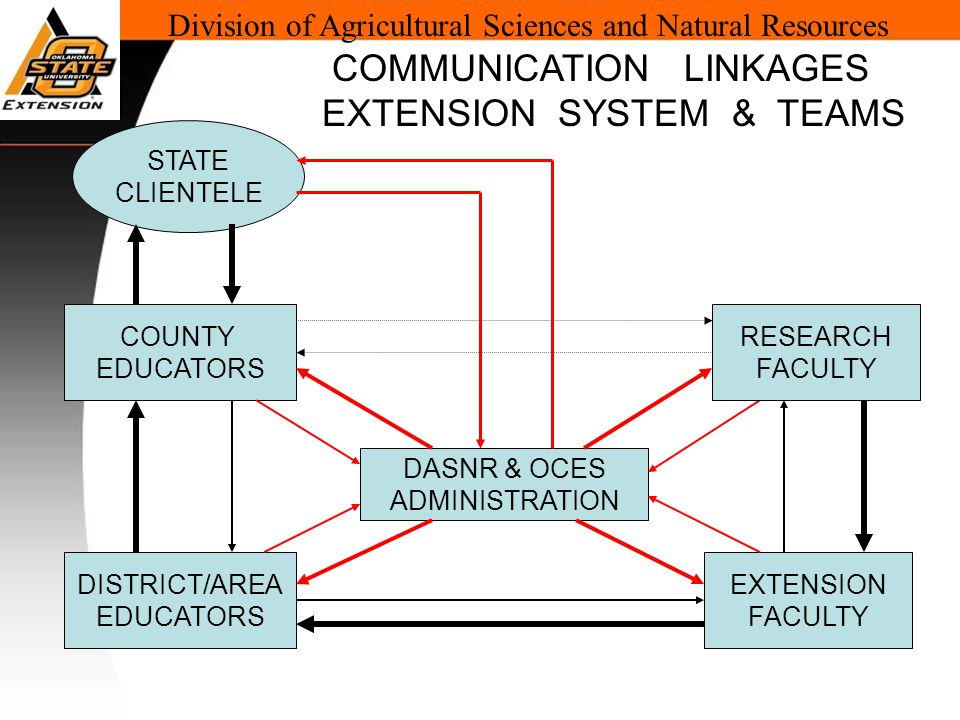 Division of Agricultural Sciences and Natural Resources COUNTY EDUCATORS DISTRICT/AREA EDUCATORS EXTENSION FACULTY DASNR & OCES ADMINISTRATION COMMUNICATION LINKAGES EXTENSION SYSTEM & TEAMS STATE CLIENTELE RESEARCH FACULTY