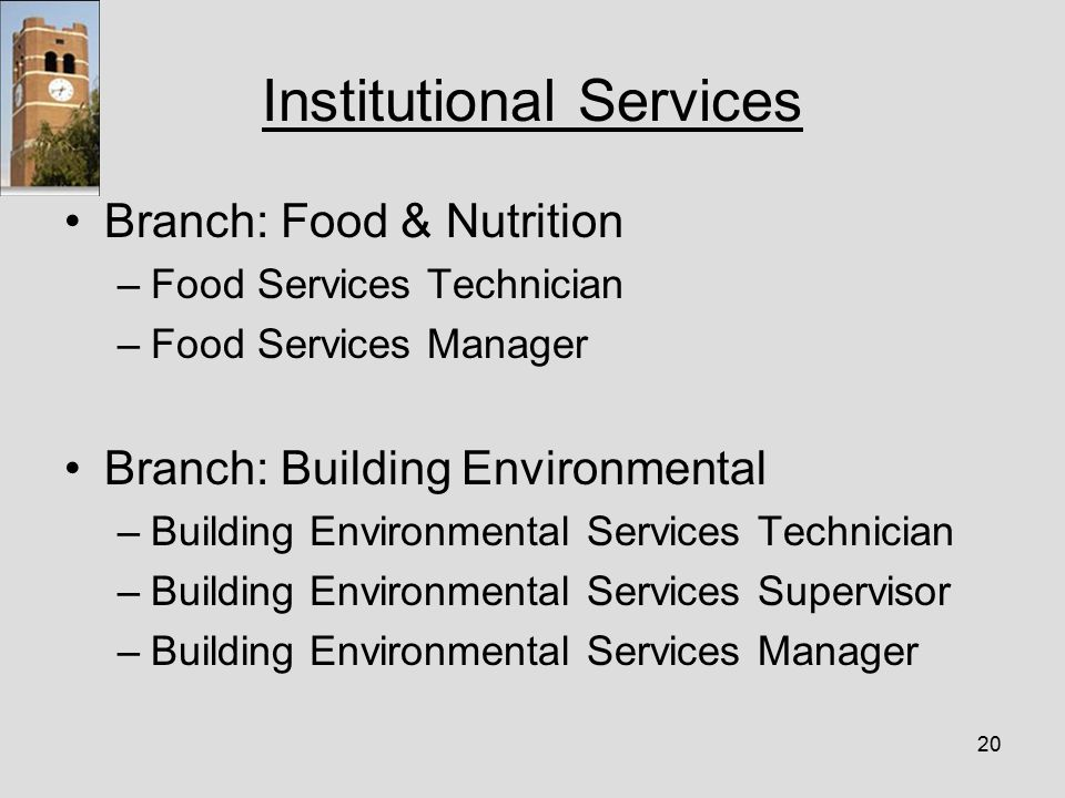 20 Institutional Services Branch: Food & Nutrition –Food Services Technician –Food Services Manager Branch: Building Environmental –Building Environmental Services Technician –Building Environmental Services Supervisor –Building Environmental Services Manager