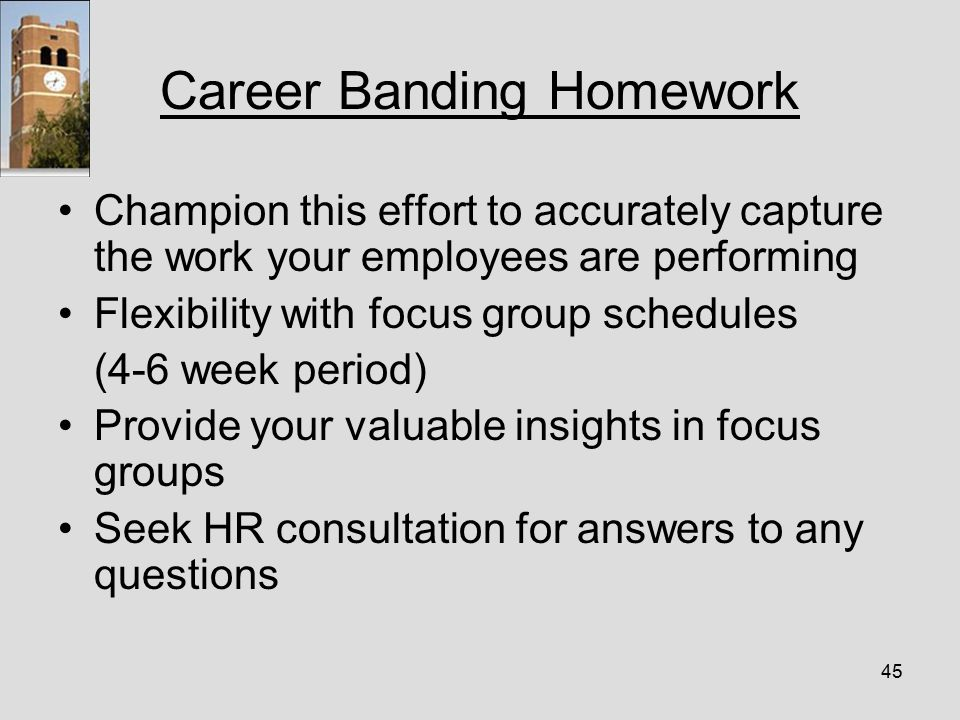 45 Career Banding Homework Champion this effort to accurately capture the work your employees are performing Flexibility with focus group schedules (4-6 week period) Provide your valuable insights in focus groups Seek HR consultation for answers to any questions