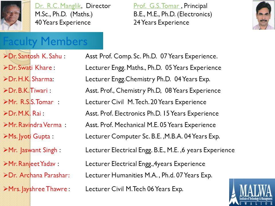 Dr. R.C. ManglikDr. R.C. Manglik, Director M.Sc., Ph.D.