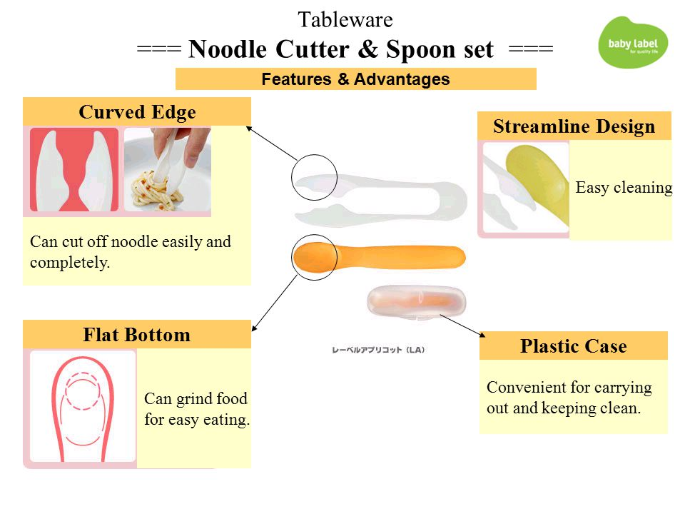 Tableware === Noodle Cutter & Spoon set === Curved Edge Flat Bottom Can cut off noodle easily and completely.