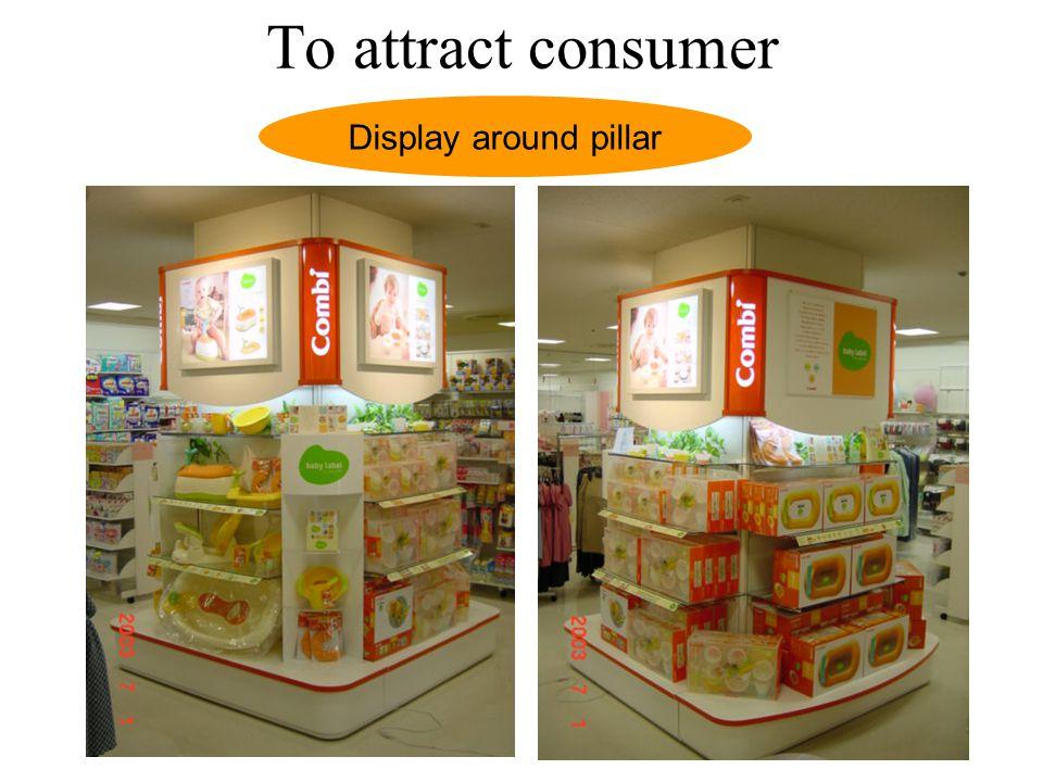 To attract consumer Display around pillar