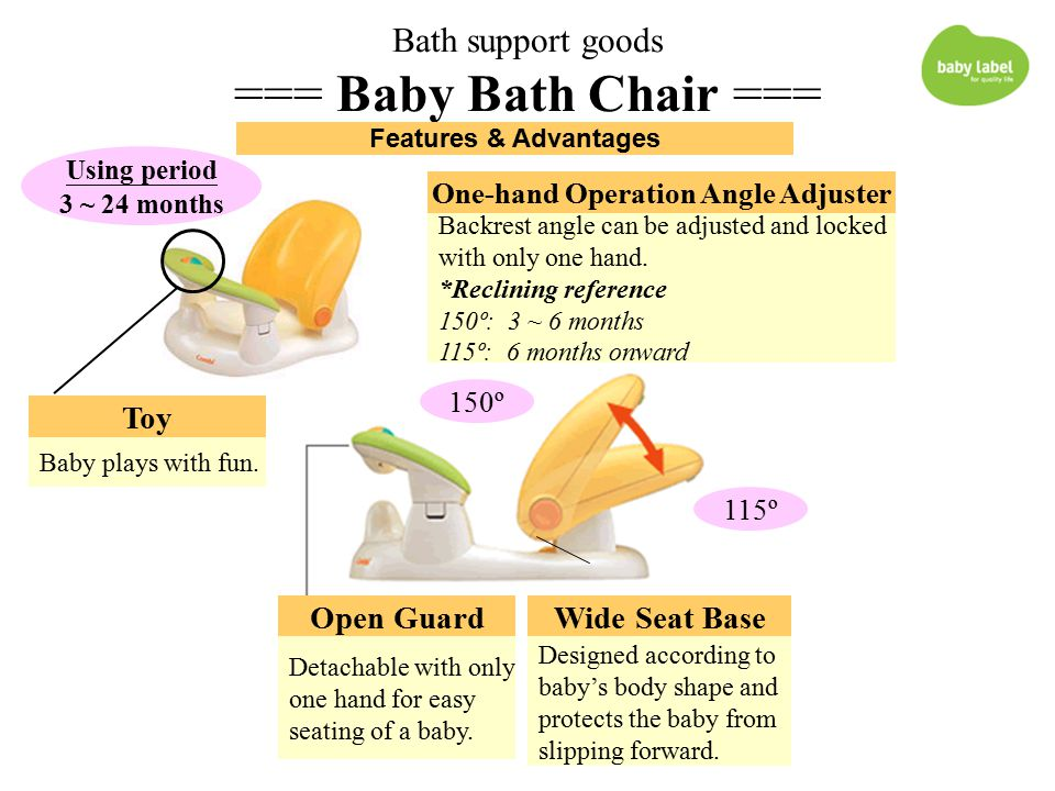 Bath support goods === Baby Bath Chair === Open Guard Detachable with only one hand for easy seating of a baby.