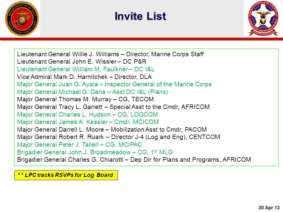Lieutenant General Willie J. Williams – Director, Marine Corps Staff Lieutenant General John E. Wissler – DC P&R Lieutenant General William M. Faulkne