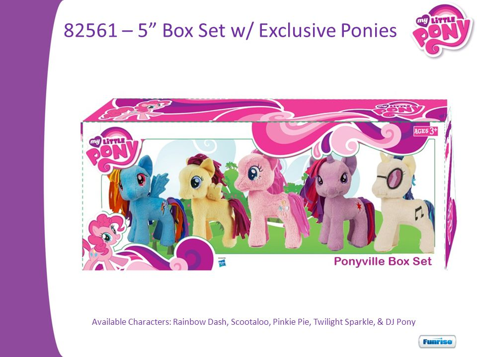 82561 – 5 Box Set w/ Exclusive Ponies Available Characters: Rainbow Dash, Scootaloo, Pinkie Pie, Twilight Sparkle, & DJ Pony